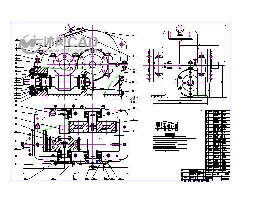 涡轮蜗杆二级齿轮减速器装配图-涡轮蜗杆二级齿轮减速器CAD图纸