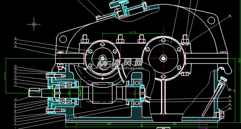 主减速齿轮零件图_二级蜗杆齿轮减速器二维装配图 - AutoCAD减速机械设备图纸下载 ...