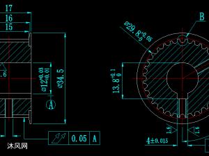 3M圓弧齒同步帶輪加工設計圖