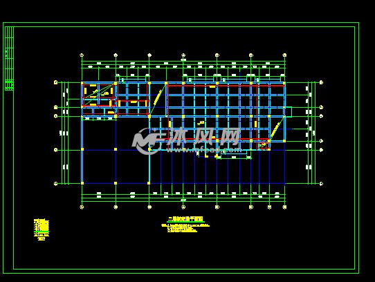 办公大楼结构设计图纸二层板配筋平面图-办公大楼结构设计图纸