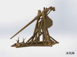 木制戰爭拋石器模型
