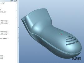 一款proe曲面繪制手持掃碼器殼體