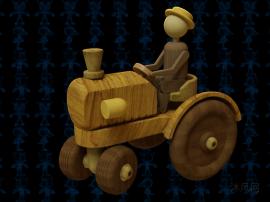 木制拖拉机玩具模型