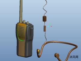 對講機和雙耳懸掛耳機