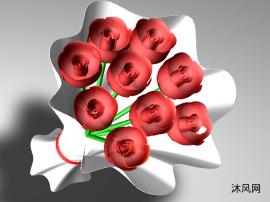 一束玫瑰花三维模型