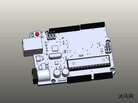 Arduino Uno单片机主板三维模子