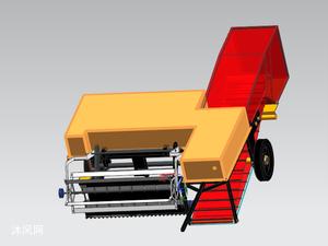 小型秸秆类收获机传动及执行机构的设计模型图