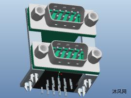 连接器行业 双层D-SUB  双层9公 3D模型