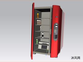 雙門對開式冰箱帶壓縮機風扇三維模型