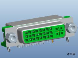 电脑周边 连接器行业 DVI 24+5 3D模型