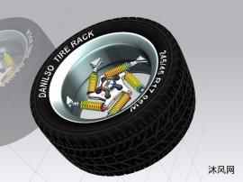 悬挂式减震器车轮轮子三维模型