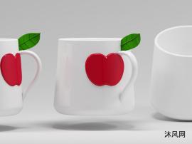 创意苹果浮雕陶瓷杯