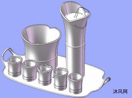 酒杯、酒瓶、托盘模型