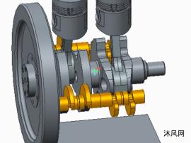 柴油机曲柄活塞连杆机构模型图