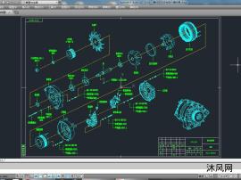 整体式交流发电机爆炸图/分解图/CAD