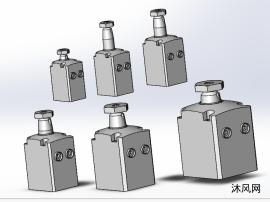 HBTU方形油压转角缸6种型号模型图