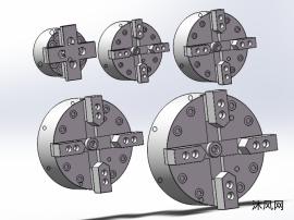 四爪中实气动卡盘 共5种规格