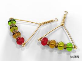 金与宝石耳环模型