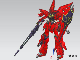 红色高达图纸模型