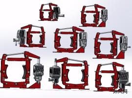 8种型号DYWP系列矿用隔爆型电力液压鼓式制动器模型