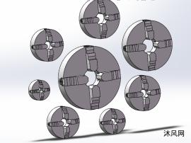 8款四爪单动卡盘D型(拉杆凸轮锁紧连接)模型