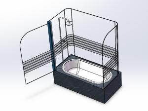 独立式整体玻璃淋浴房