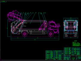 8吨后装垃圾车(翻斗机构)图纸