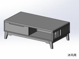 实木茶几模型设计图