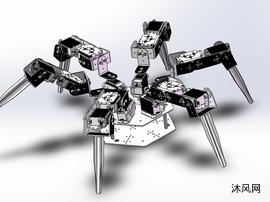 MG995舵机六腿机器人模型设计