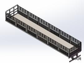 半挂仓栅车车架三维图设计