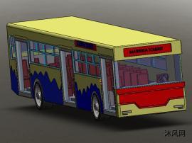 公共汽车玩具模型SW设计