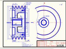 数控机床V型皮带轮零件图