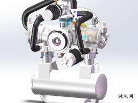 二冲程水平对置发动机模型