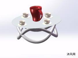 四人茶几三维模型