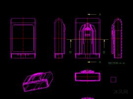 蓄电池组后盖模具结构图