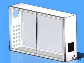 双开门电控箱钣金图模型