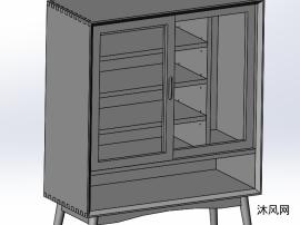 实木餐边柜模型设计图