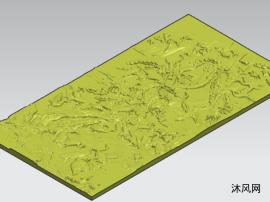 松鹤图浮雕模型图