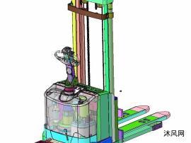 激光导航AGV液压叉车带升降机构(结构完整)