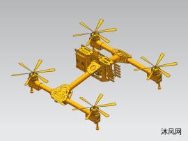 四翼螺旋無人機三維模型