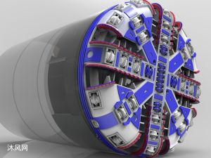 一套詳細的盾構機設計模型(包括刀盤)